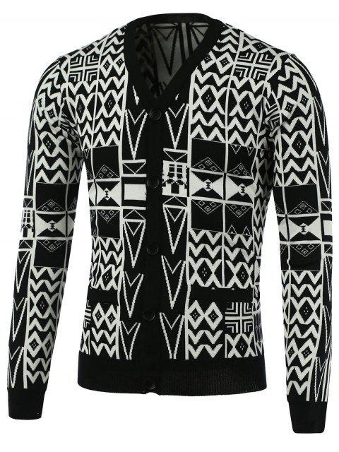 Geometrische Muster mit V-Ausschnitt Einreiher Strickjacke - Weiß & Schwarz XL  Mobile