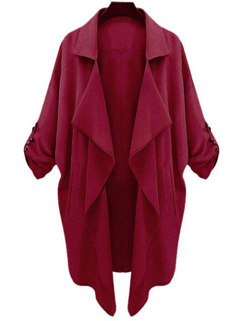 trendy Long Sleeve Solid Color Trench Coat - CLARET L Mobile