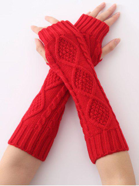 trendy Christmas Winter Diamond Hollow Out Crochet Knit Arm Warmers - RED  Mobile