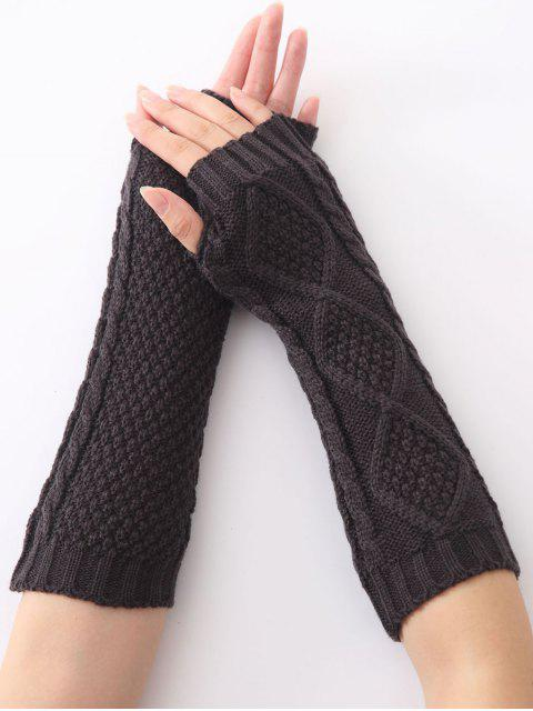fancy Christmas Winter Diamond Hollow Out Crochet Knit Arm Warmers - DEEP GRAY  Mobile