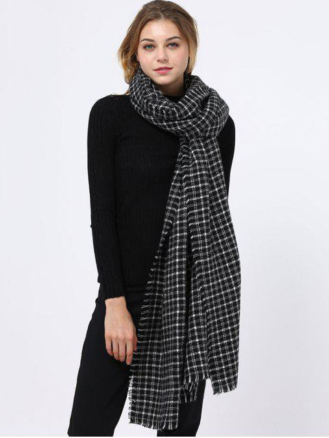 shops Small Plaid Pattern Fringed Edge Scarf - BLACK  Mobile