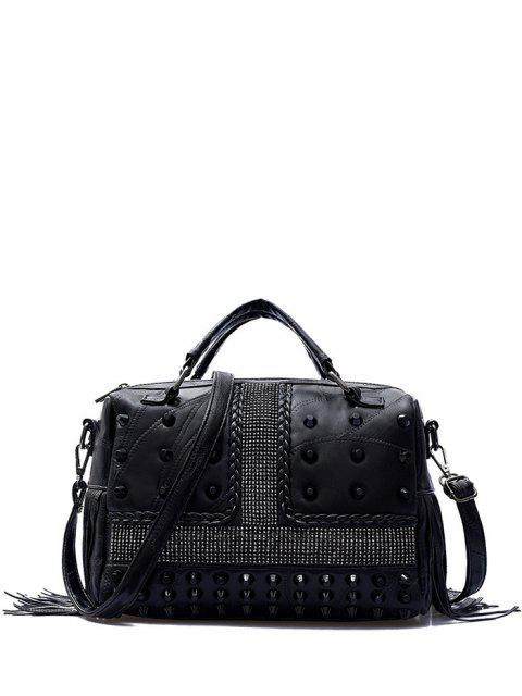 fashion Stitching Fringe Rivet Handbag -   Mobile