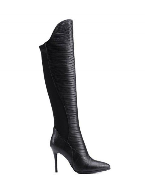ladies Ruched Pointed Toe Splicing Thigh Boots - BLACK 39 Mobile