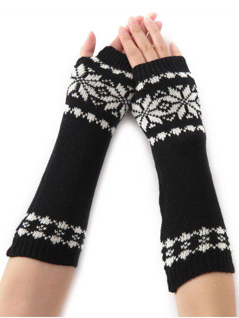 outfits Winter Warm Christmas Snow Floral Crochet Knit Arm Warmers - BLACK  Mobile