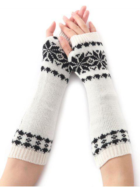 Mitaines longues chaude tricotées à motif de neige, d'hiver de Noël - Blanc  Mobile