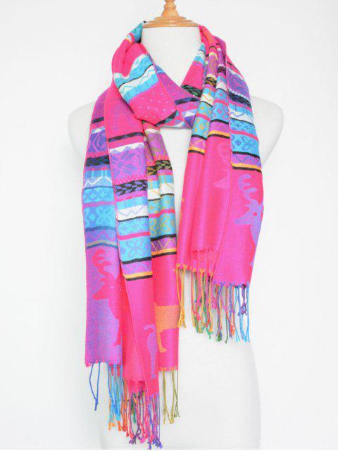 Écharpe frangée colorée, imprimée cerf de Noël - rose  Mobile