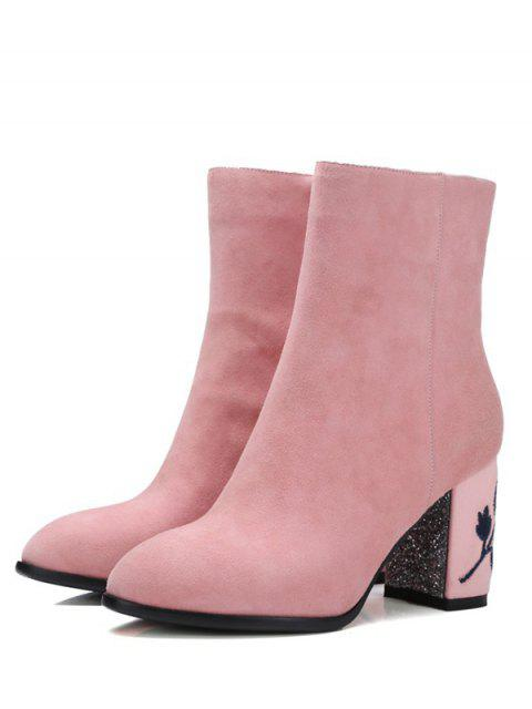 shop Flower Pattern Embroidery Sequins Ankle Boots - PINK 38 Mobile