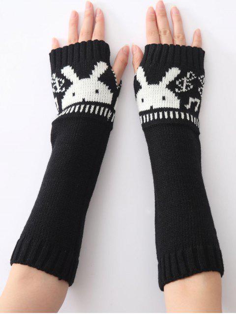 sale Christmas Winter Rabbit Head Hollow Out Crochet Knit Arm Warmers - BLACK  Mobile