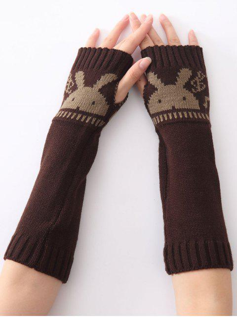 women Christmas Winter Rabbit Head Hollow Out Crochet Knit Arm Warmers - COFFEE  Mobile