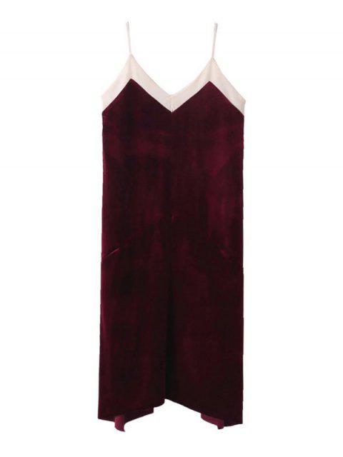 Vestido de Tirante Fino de Terciopelo de Malla Escotada - Vino Rojo L Mobile