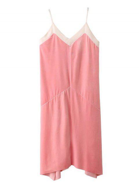 trendy Mesh Trim Velvet Cami Dress - PINK S Mobile