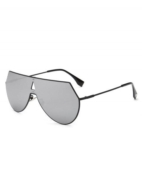 women's Hollow Triangle Shield Mirror Sunglasses - SILVER  Mobile
