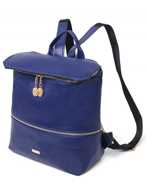 hot Metallic Zips PU Leather Backpack -   Mobile