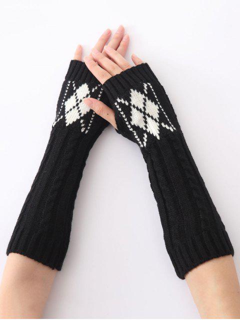 Mitaines longues chaudes torsadées tricotées à motif de diamant, d'hiver de Noël - Noir  Mobile