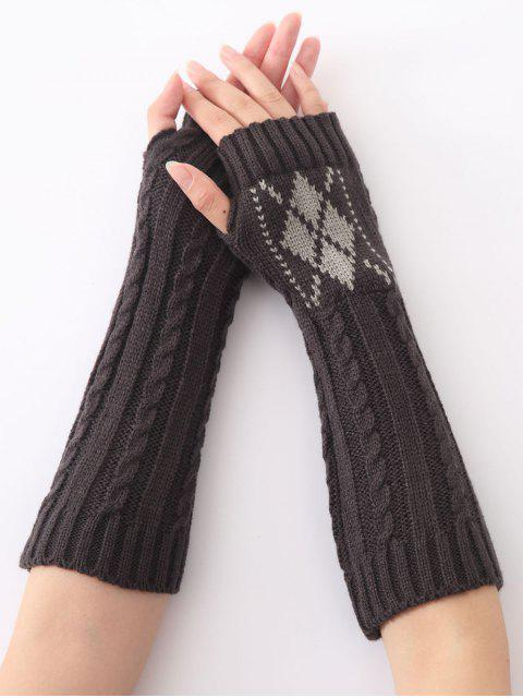 lady Hemp Decorative Pattern Diamond Crochet Knit Arm Warmers -   Mobile