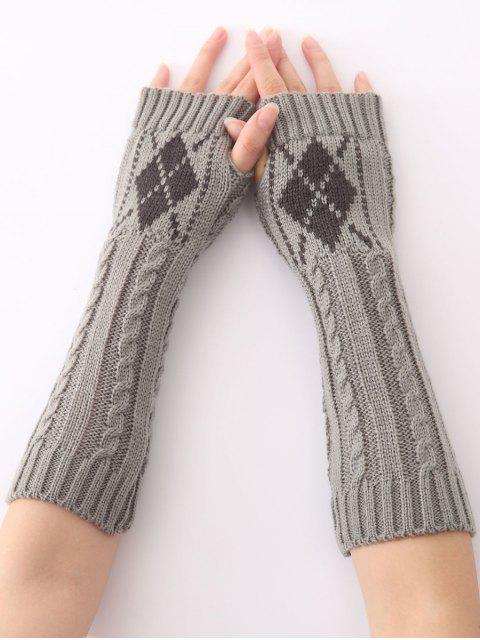 Mitaines longues chaudes torsadées tricotées à motif de diamant, d'hiver de Noël - Gris Clair  Mobile