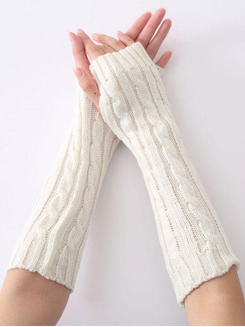 Mitaines en tricot a motif chanvre de noël - Blanc  Mobile