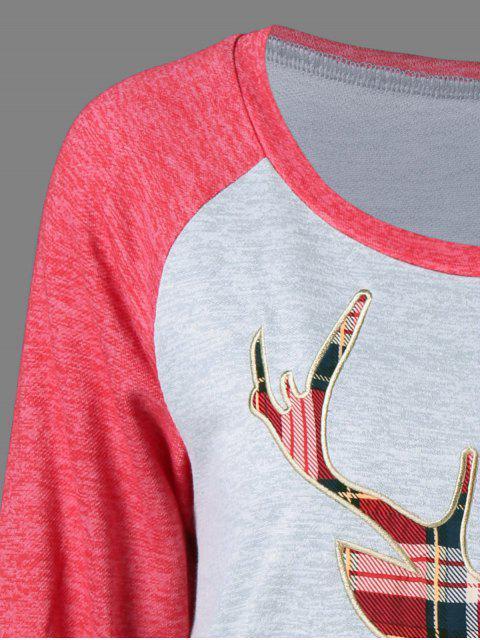 new Plaid Elk Pattern Raglan Sleeves Dress - GRAY AND RED M Mobile