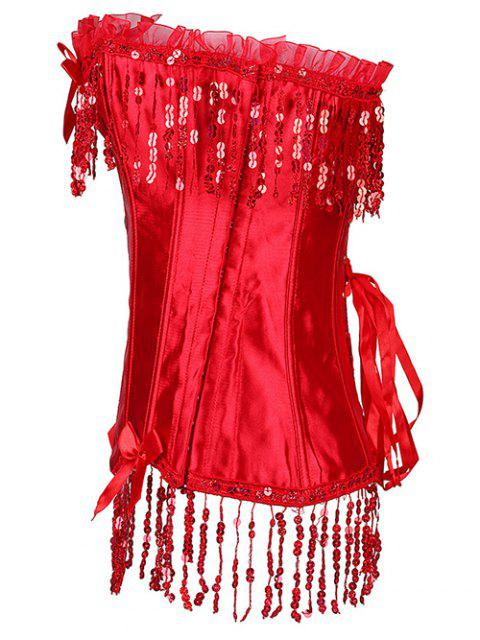 buy Fringe Sequins Steal Boned Corset - RED XL Mobile