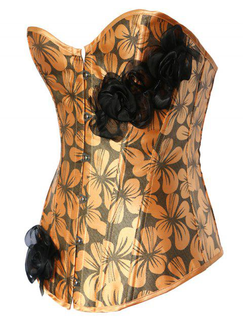 women's Rose Ribbon Printed Lace Up Corset - PASTER ORANGE S Mobile