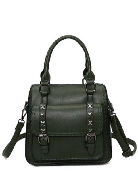 womens Criss-Cross Double Buckles PU Leather Handbag - BLACKISH GREEN  Mobile