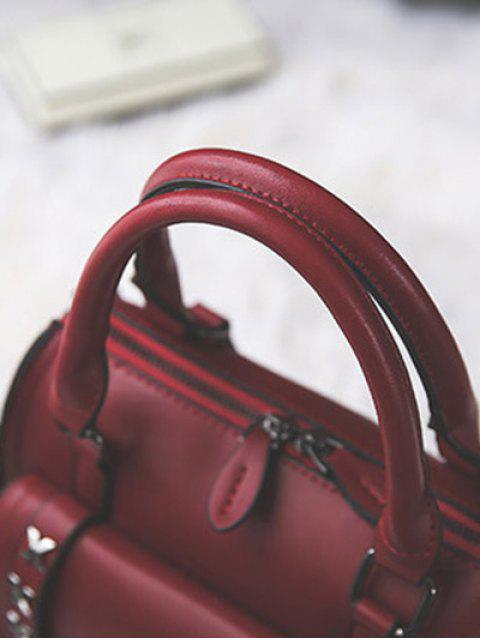 womens Criss-Cross Double Buckles PU Leather Handbag - BLACKISH GREEN  Mobile