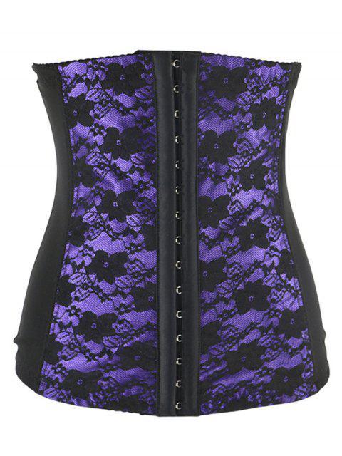 women Retro Steal Boned Underbust Lace Corset - PURPLE 5XL Mobile