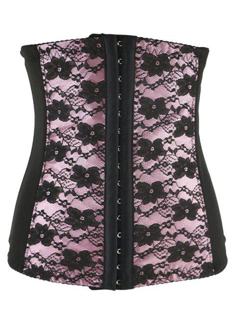 fashion Retro Steal Boned Underbust Lace Corset - SHALLOW PINK XL Mobile