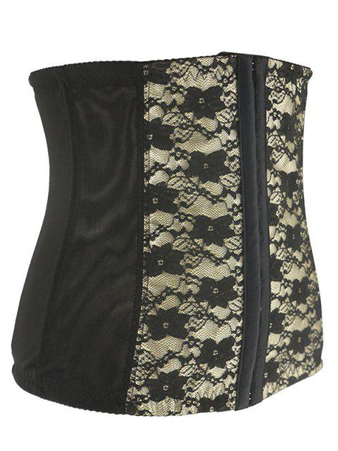 affordable Retro Steal Boned Underbust Lace Corset - BEIGE 6XL Mobile