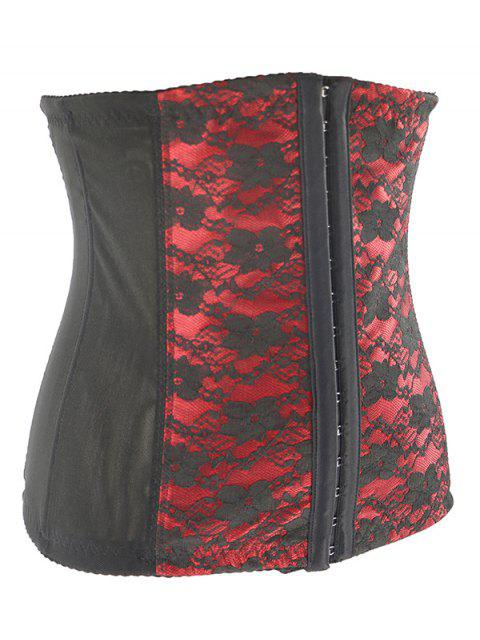 latest Retro Steal Boned Underbust Lace Corset - RED XL Mobile