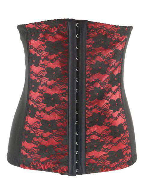 shop Retro Steal Boned Underbust Lace Corset - RED 3XL Mobile