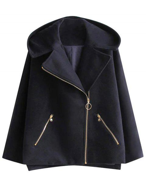 new Hooded Inclined Zipper Wool Blend Coat - PURPLISH BLUE M Mobile