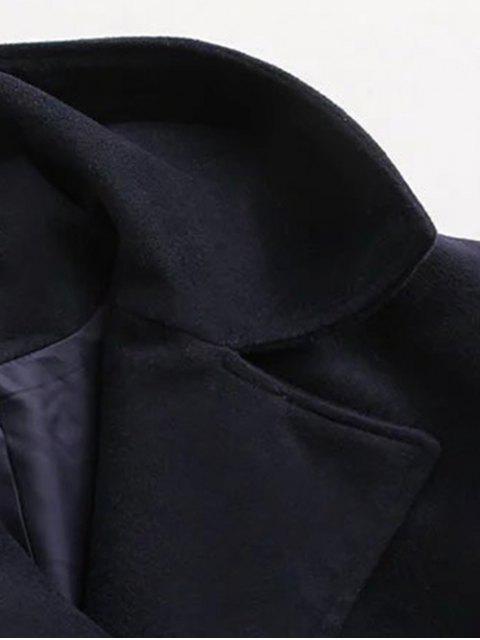 new Hooded Inclined Zipper Wool Blend Coat - PURPLISH BLUE M Mobile