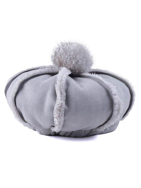 latest Warmer Fleece Octagonal Beret Hat - GRAY  Mobile
