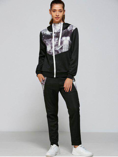 Panelled Zip up Hoodie y pantalones - Negro M Mobile