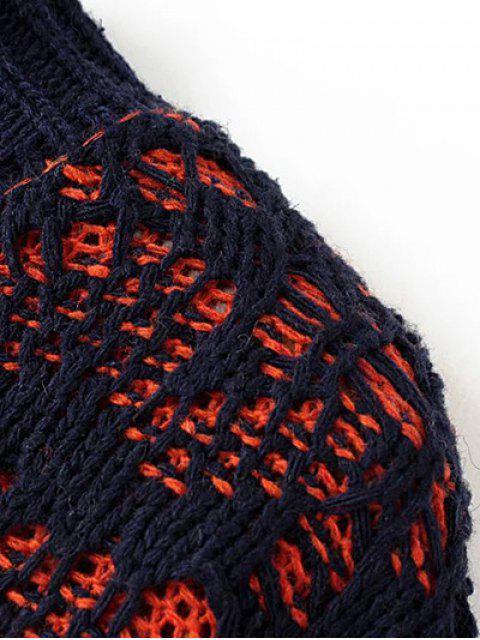 Jumper épais bicolore à col plat - Gris TAILLE MOYENNE Mobile