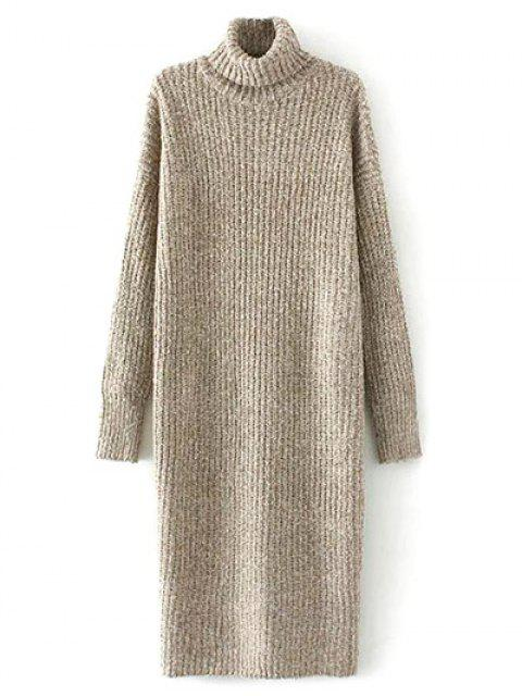 ladies Turtle Neck Tweed Long Sweater Dress - KHAKI ONE SIZE Mobile