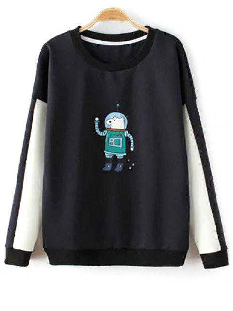 sale Color Block Astrodog Print Sweatshirt - BLACK ONE SIZE Mobile