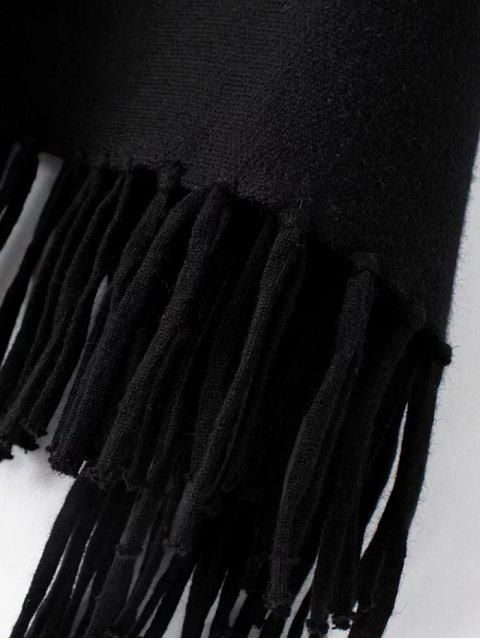 Pull-over à manches chauve-souris et à col roulé avec franges - Noir TAILLE MOYENNE Mobile