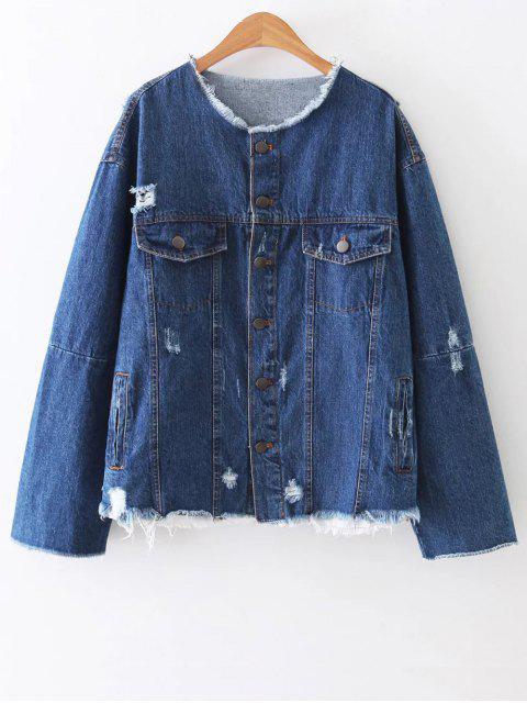 Veste en jean déchirée en col rond et en patchwork au dos - Bleu L Mobile