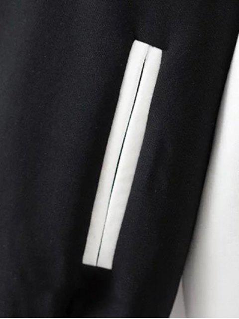 trendy Animal Embroidered Baseball Jacket - WHITE AND BLACK M Mobile