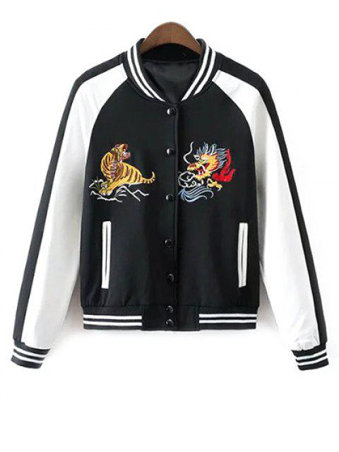 latest Animal Embroidered Baseball Jacket - WHITE AND BLACK L Mobile