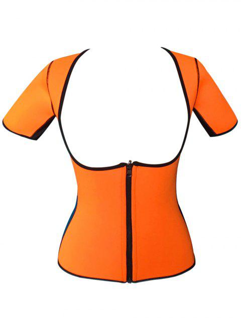 fashion Zippered Double Side Color Block Bustiers - ORANGE M Mobile