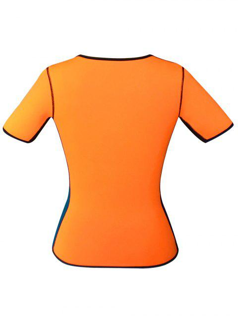 trendy Zippered Double Side Color Block Bustiers - ORANGE L Mobile