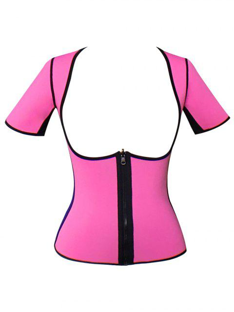 buy Zippered Double Side Color Block Bustiers - PINK 3XL Mobile