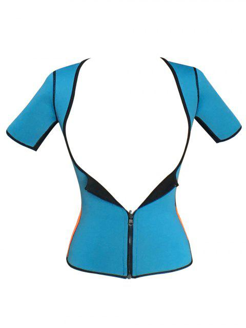 fashion Zippered Double Side Color Block Bustiers - BLUE XS Mobile