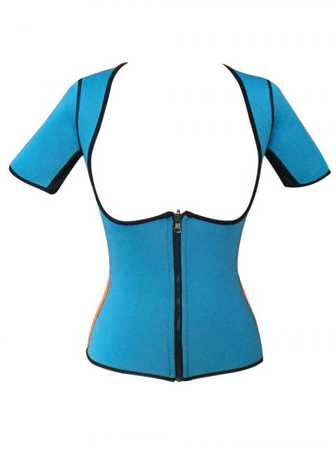 shops Zippered Double Side Color Block Bustiers - BLUE L Mobile