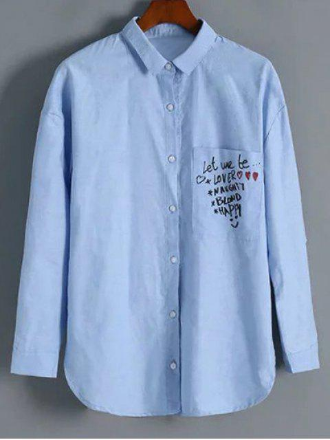 lady Button Up Graphic Shirt - LIGHT BLUE M Mobile