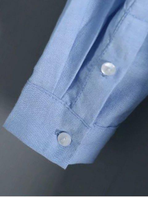 lady Button Up Graphic Shirt - LIGHT BLUE M Mobile