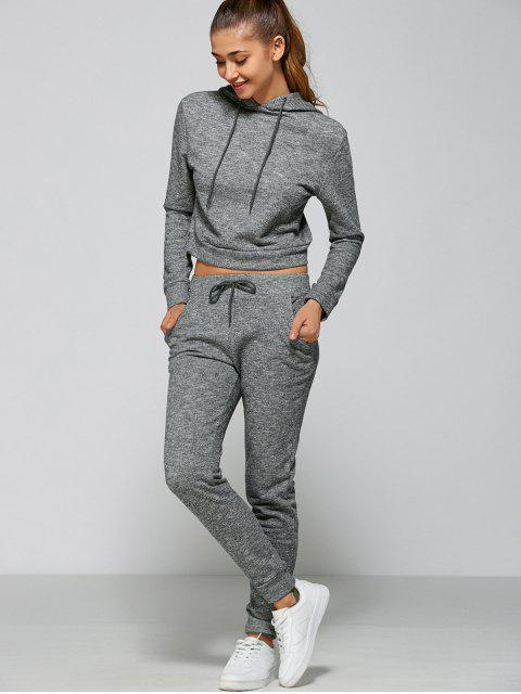 new Marled Cropped Hooded and Pants - GRAY L Mobile